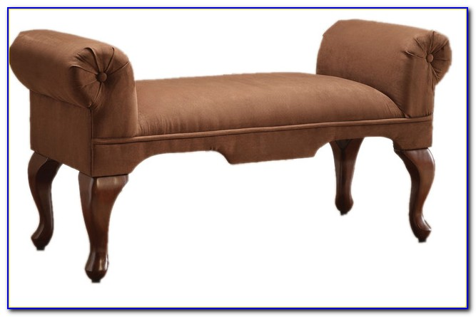 New Bycast Leather Upholstered Bench With Rolled Arms