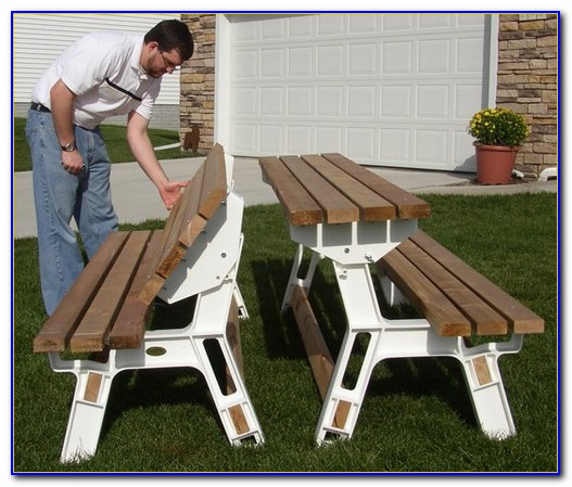 Outdoor Bench Converts To Picnic Table