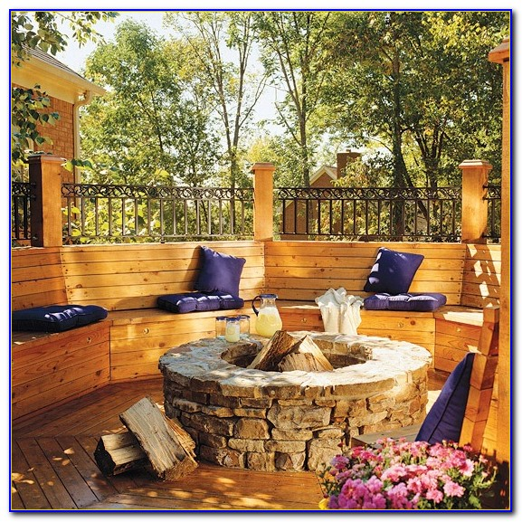Outdoor Benches Around Fire Pit