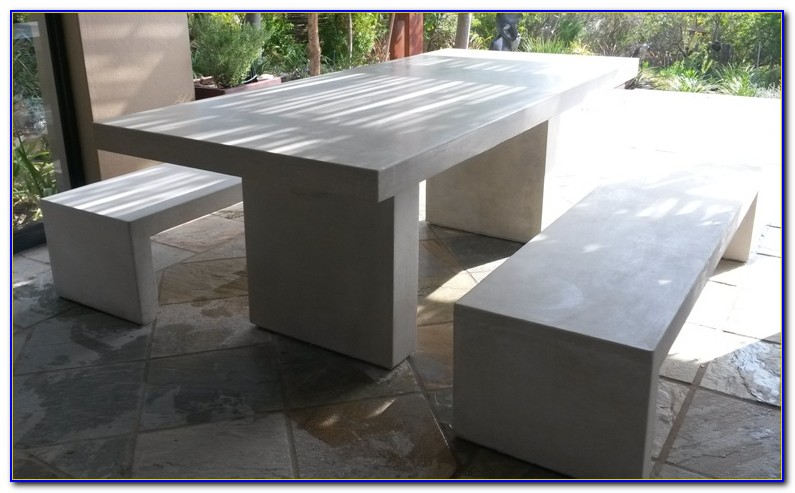 Outdoor Cement Table And Benches