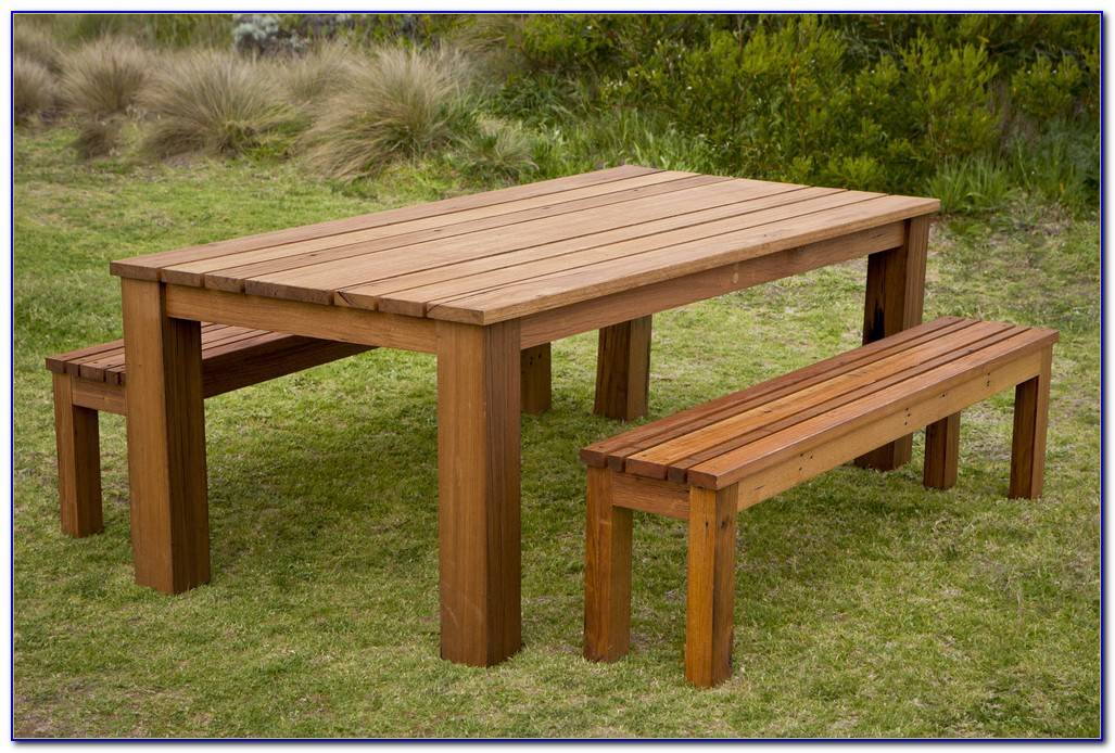 Outdoor Wood Dining Table With Benches