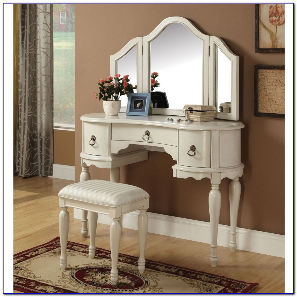 Princess Vanity Set With Mirror And Bench White