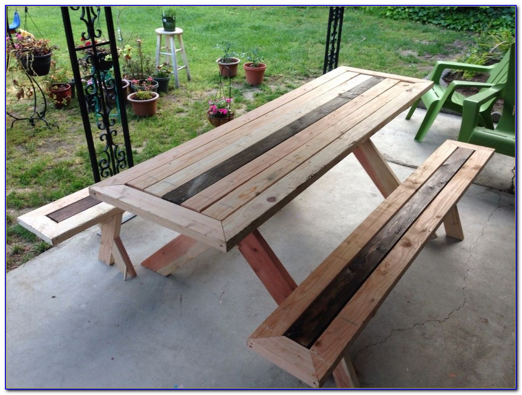 Redwood Picnic Table With Detached Benches