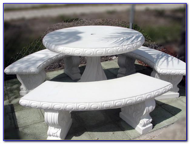 Round Cement Table And Benches