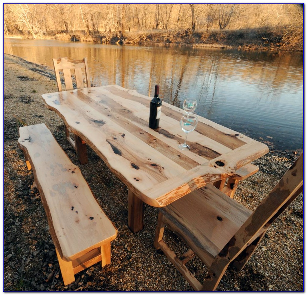 Rustic Dining Table With Bench And Chairs