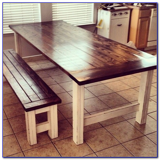 Rustic Oak Dining Table With Benches