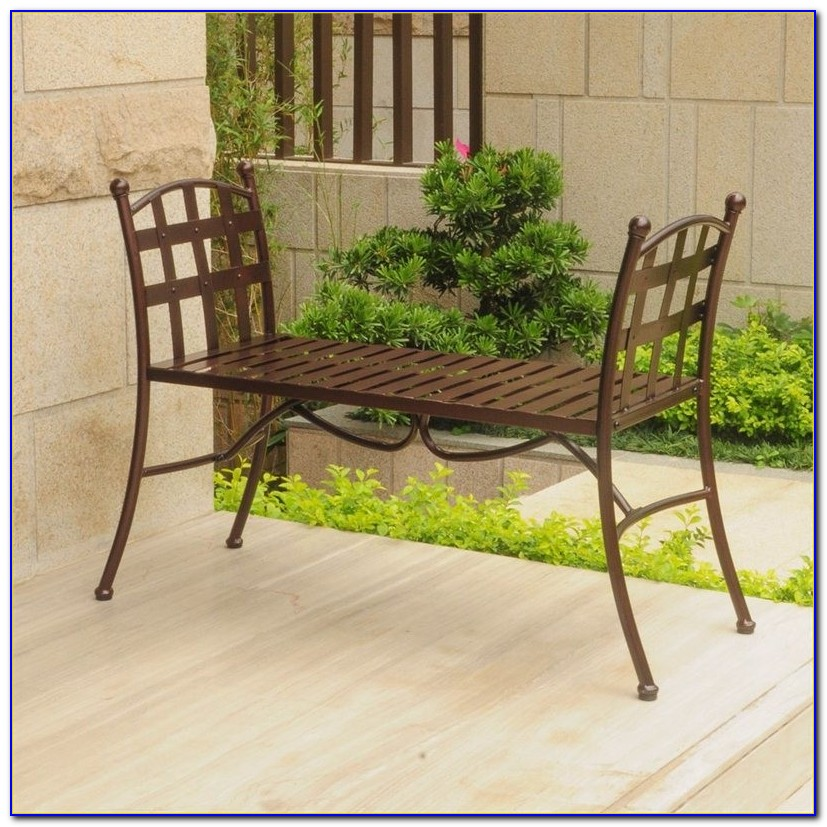 Small Backless Wrought Iron Bench