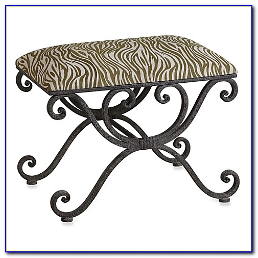 Small Black Wrought Iron Bench