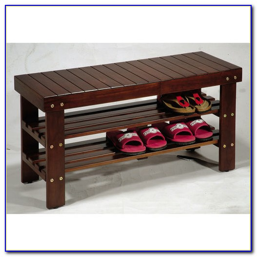 Solid Wood Shoe Rack Bench