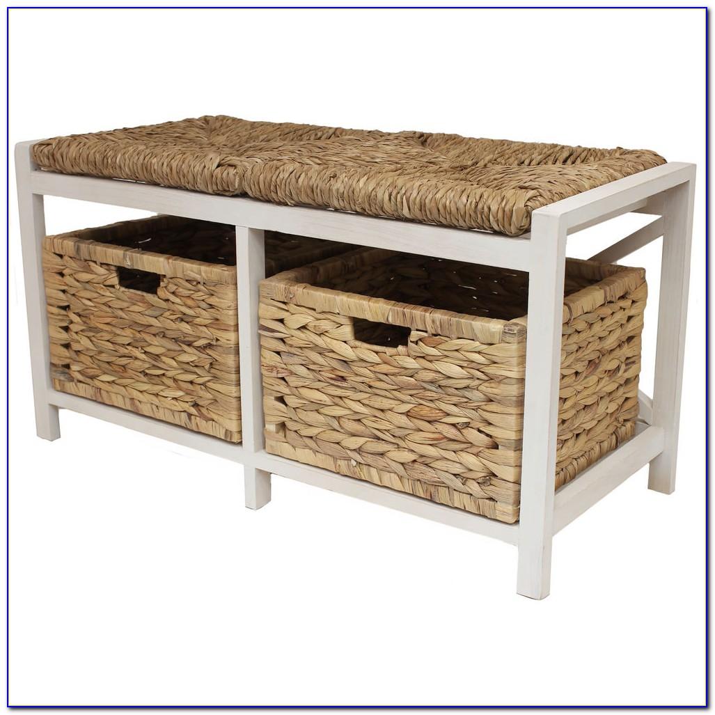 Storage Bench Seat With Wicker Baskets