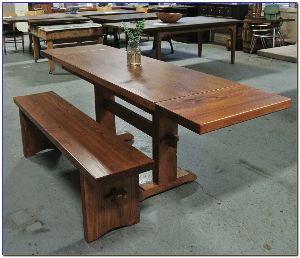 Trestle Style Dining Table With Benches