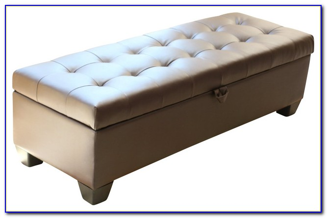 Tufted Faux Leather Storage Bench