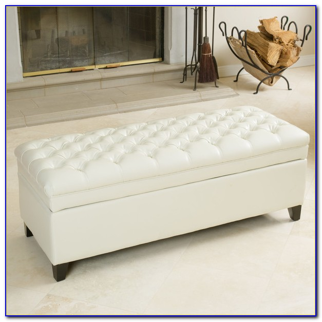 Tufted Leather Storage Ottoman Bench
