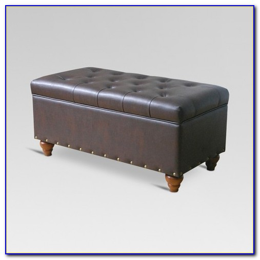 Tufted Ottoman Bench With Shoe Storage And Nailhead