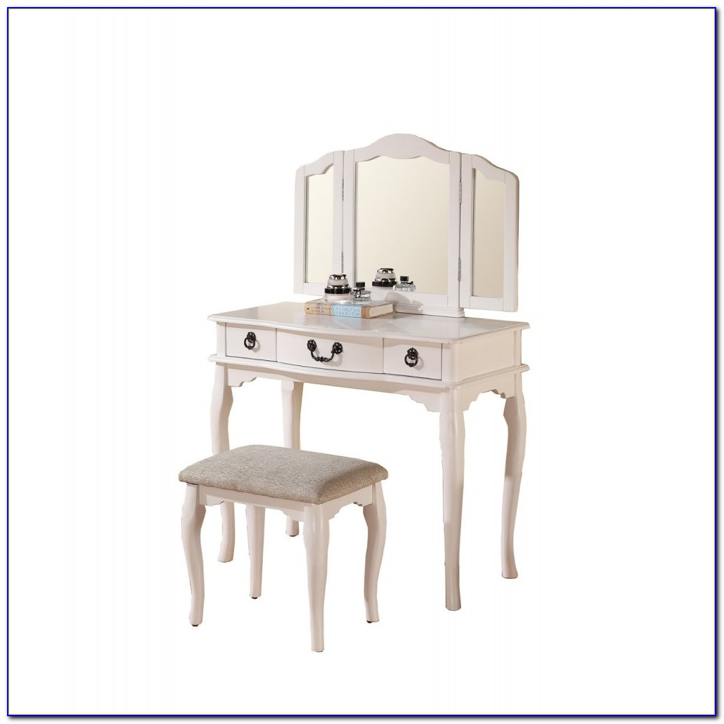 Vanity With Trifold Mirror And Bench White