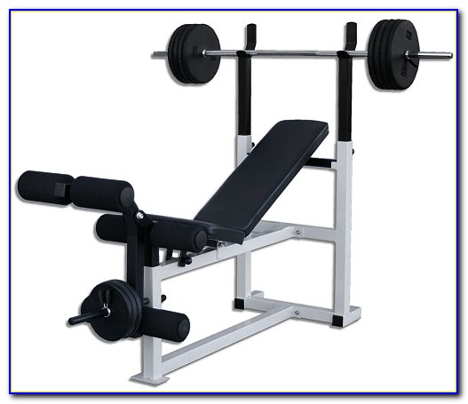 Weight Bench With Weights And Bar Set