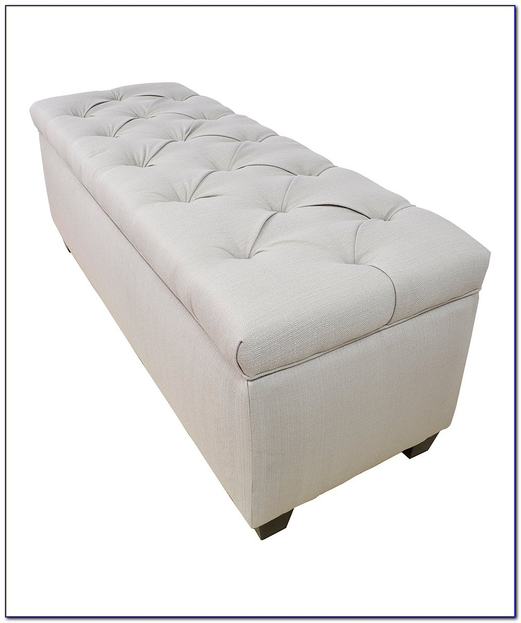 White Leather Tufted Storage Bench Ottoman