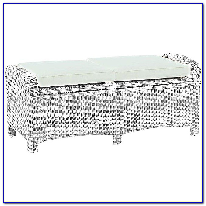 White Resin Wicker Storage Bench