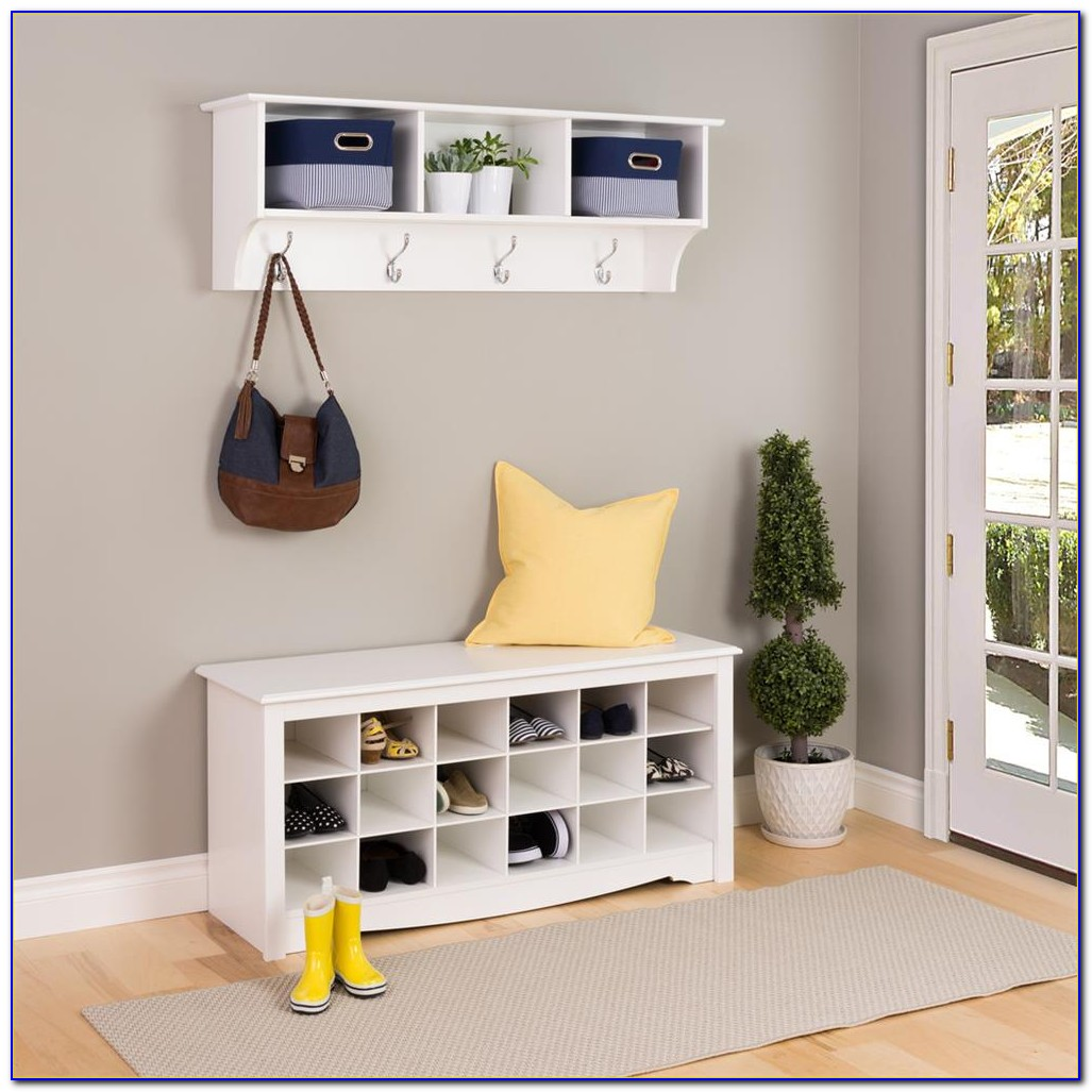 White Shoe Storage Bench Entryway