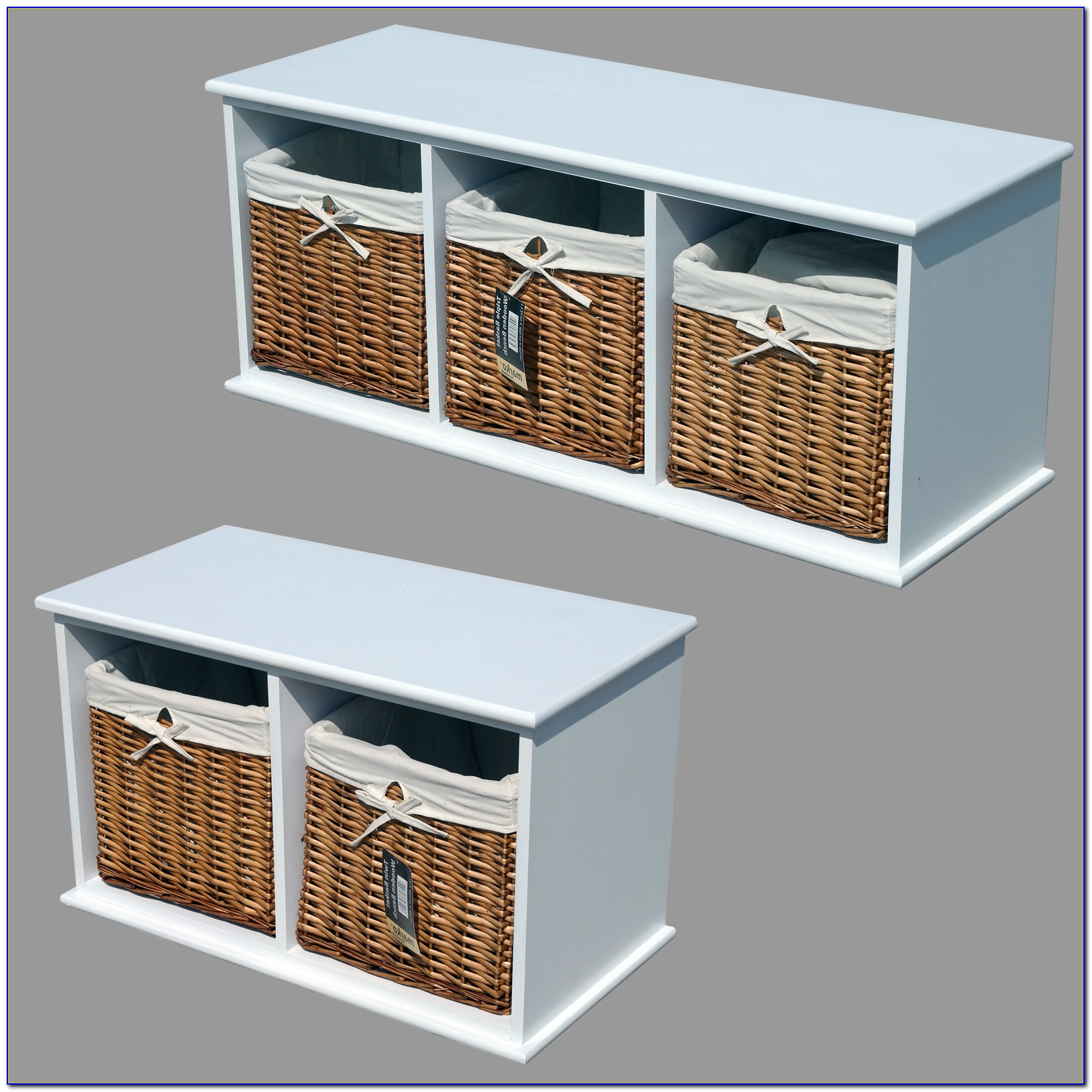 White Storage Bench Wicker Baskets