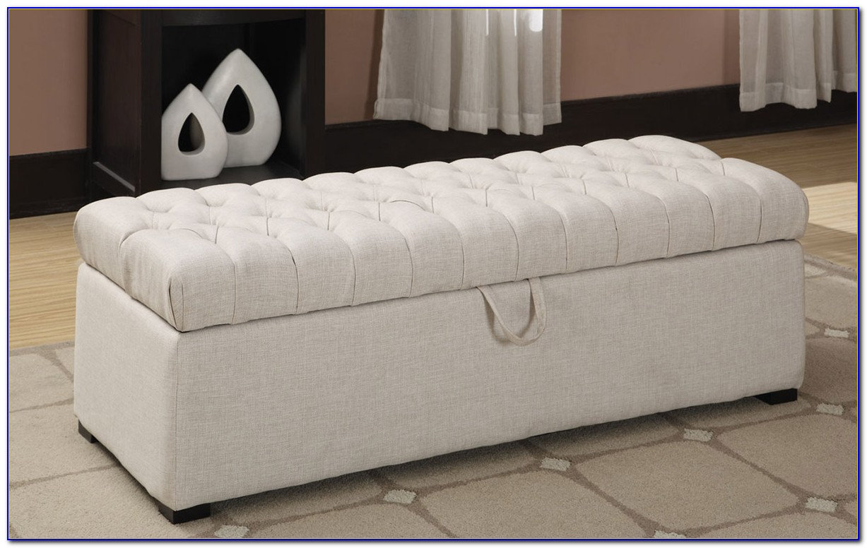 White Tufted Storage Bench
