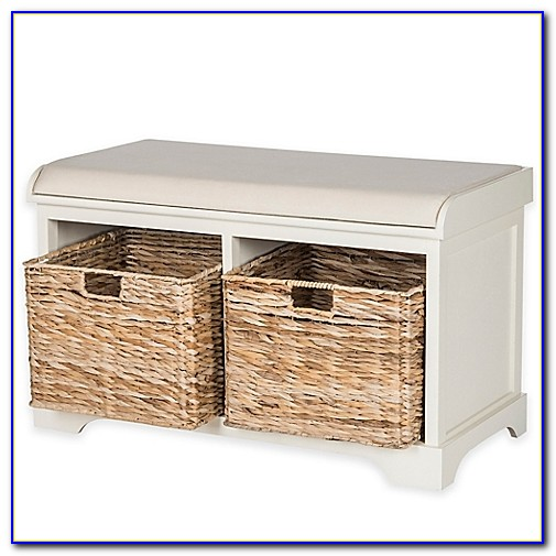 White Wicker Bench With Storage
