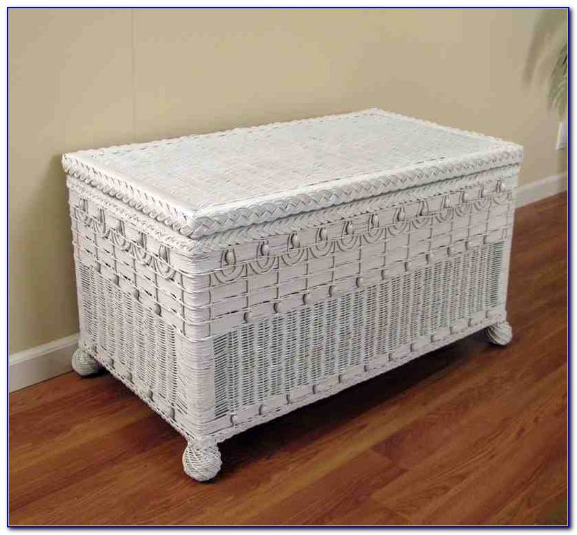 White Wicker Outdoor Storage Bench