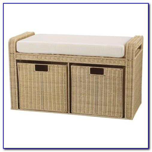 Wicker Bench Seat With Storage