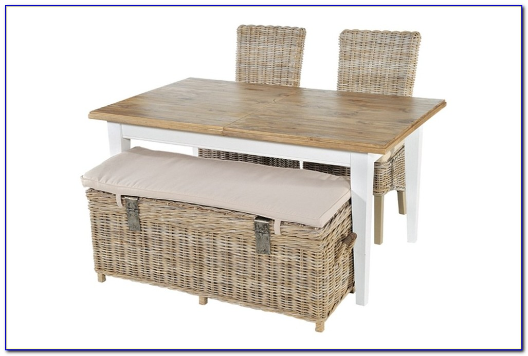 Wicker Storage Bench With Cushion White
