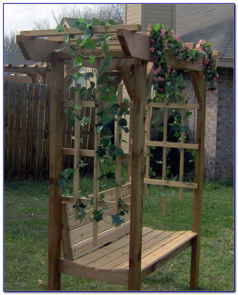 Wood Arbor With Bench