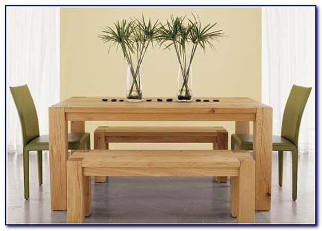 Wood Bench Dining Table Set