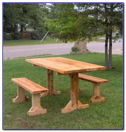 Wood Picnic Table With Attached Benches