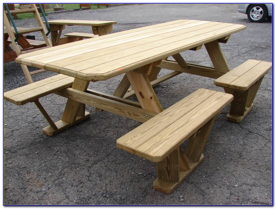 Wood Picnic Table With Benches