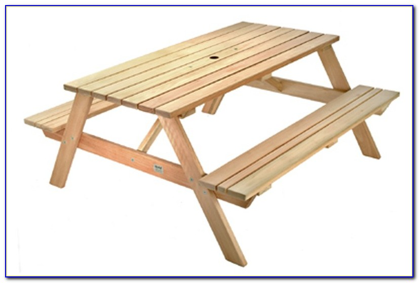 Wooden Picnic Table With Attached Benches