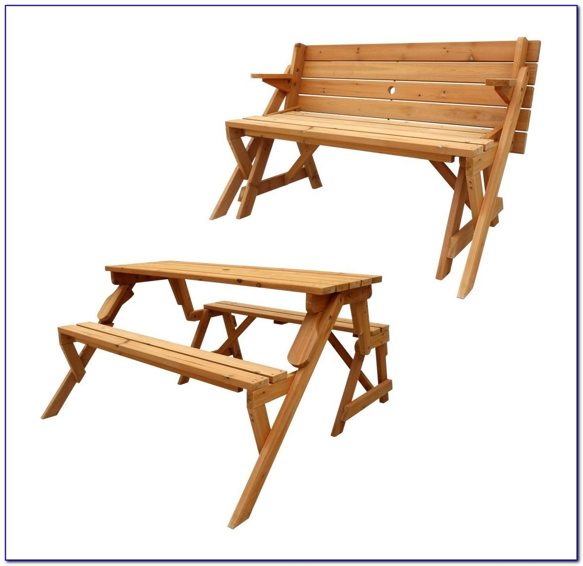 Wooden Picnic Table With Unattached Benches