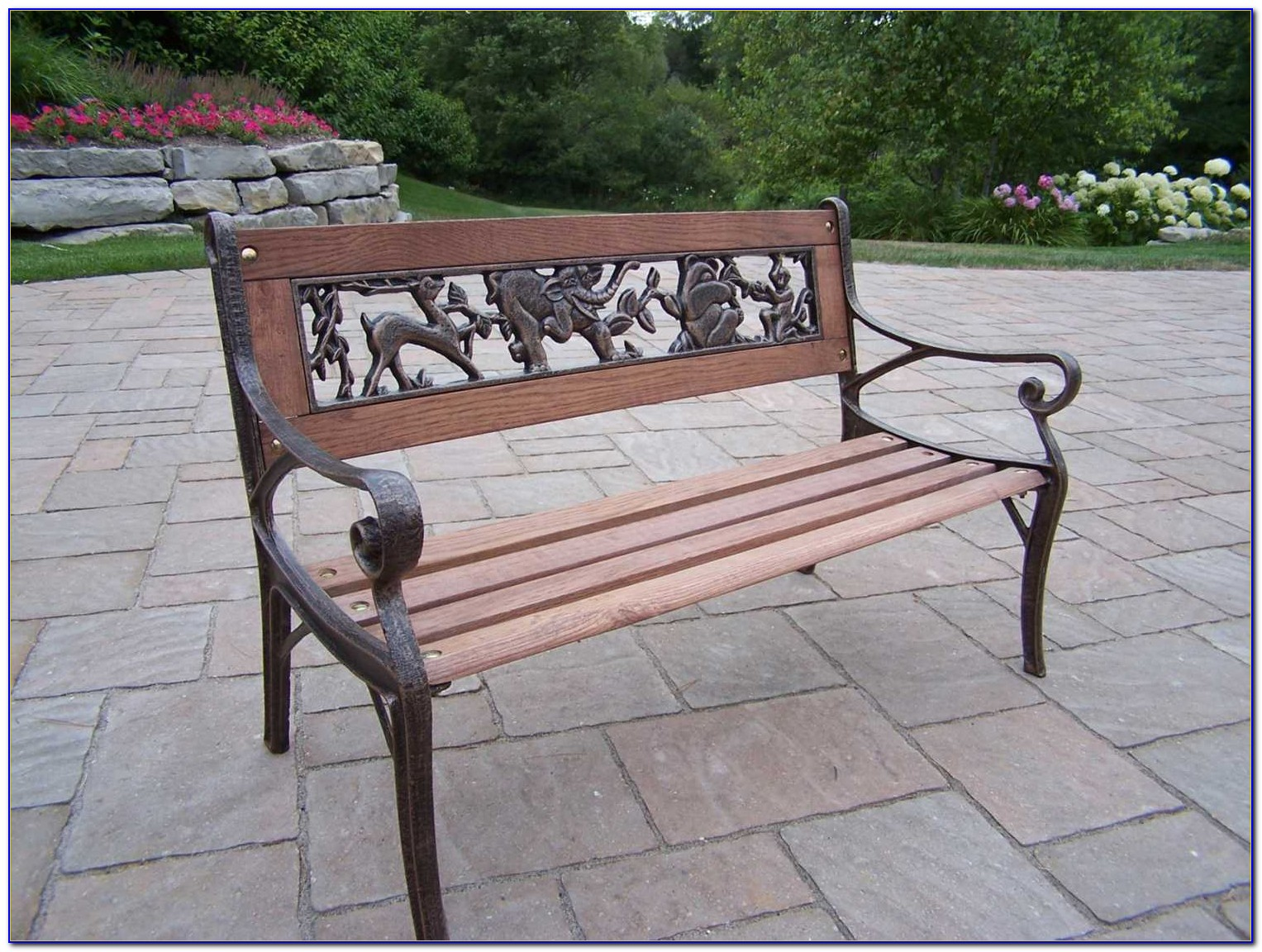 Wrought Iron And Wood Garden Bench