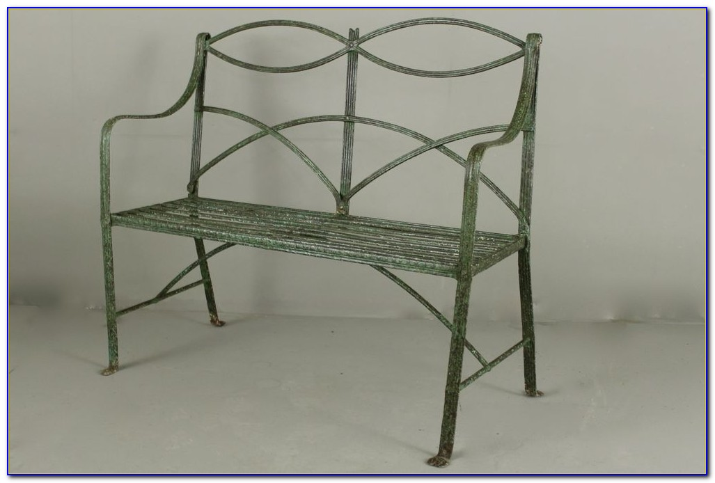 Wrought Iron Garden Bench Antique