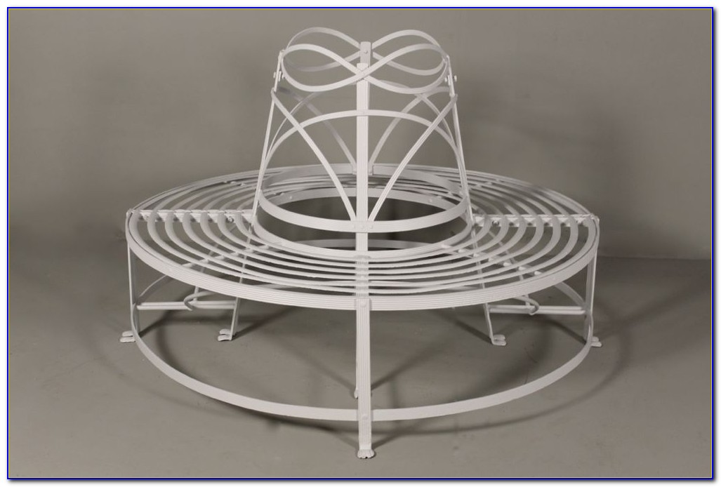 Wrought Iron Tree Bench White
