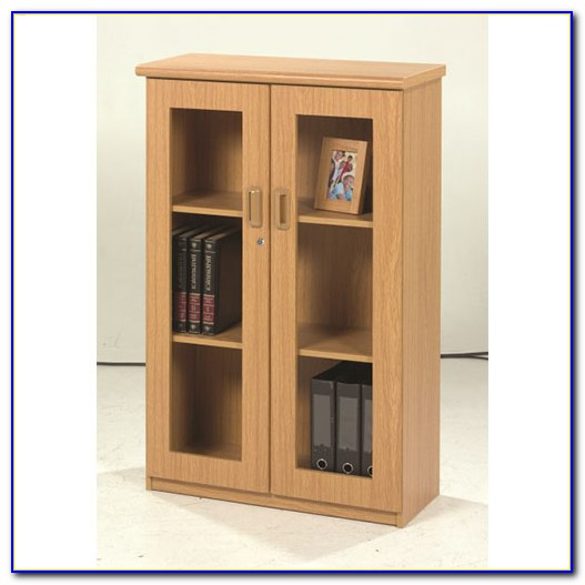 3 Tier Bookcase With Glass Doors