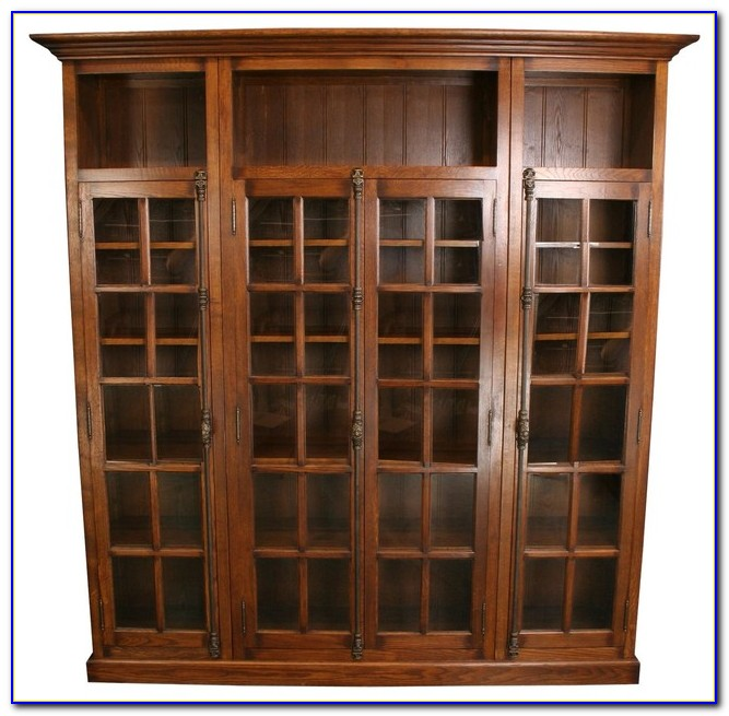 Antique Barrister Bookcase With Glass Doors