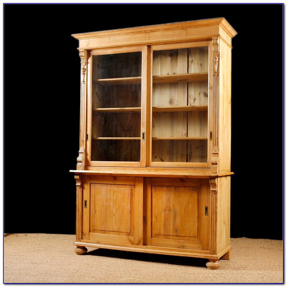 Antique Bookcase With Sliding Glass Doors
