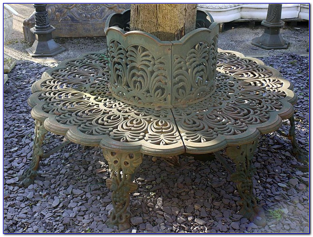 Antique Cast Iron Tree Bench