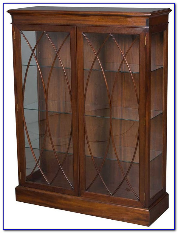 Antique Mahogany Bookcase With Glass Doors