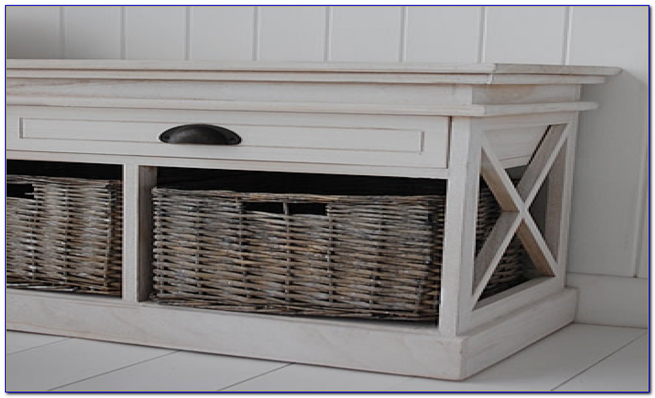 Black Entryway Bench With Storage Baskets & Cushions