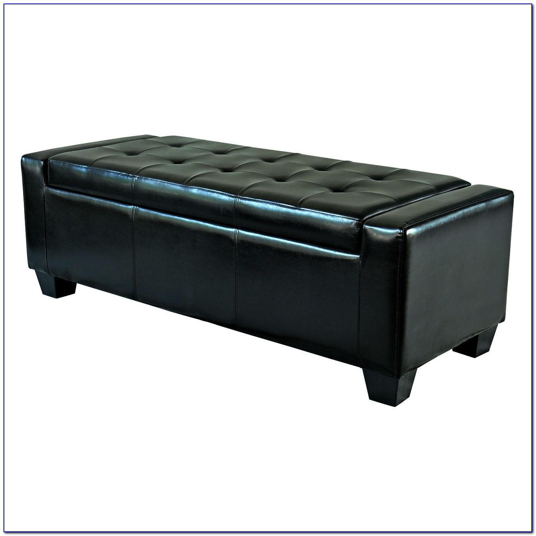 Black Faux Leather Ottoman Storage Bench