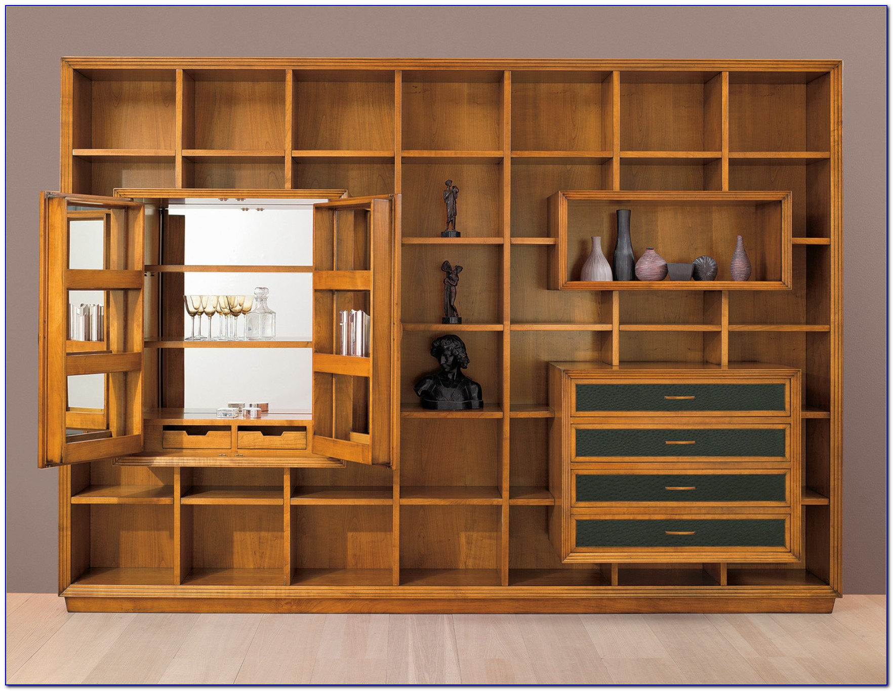 Bookcase Wall Unit With Desk