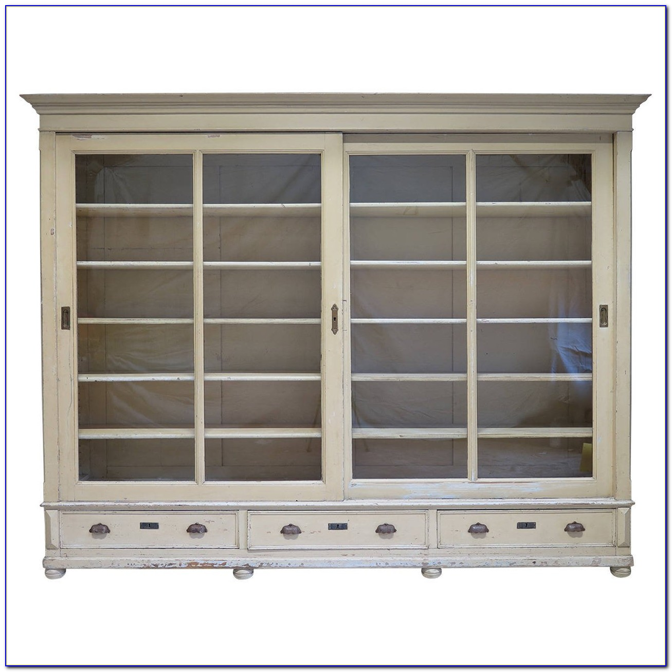 Bookcase With Sliding Glass Doors White