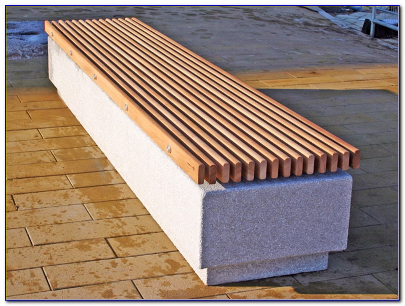 Concrete And Wood Outdoor Benches