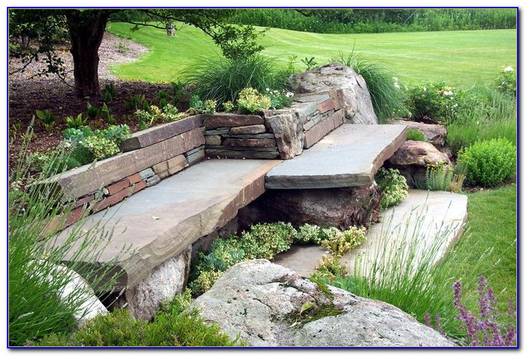 Curved Stone Benches For Garden
