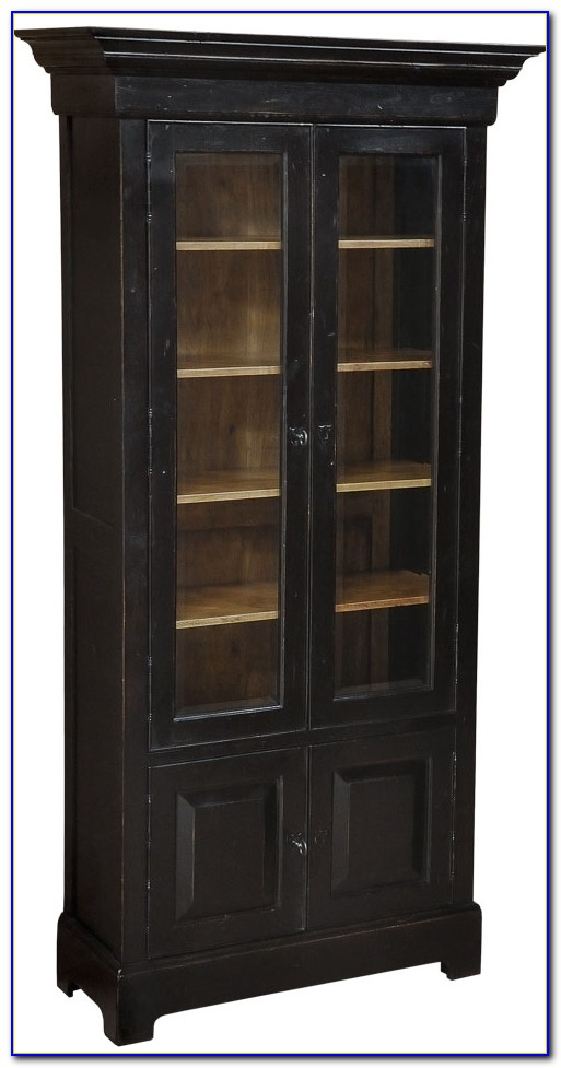 Dark Wood Bookcases Glazed Display Units